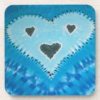 Love Happy Hearts Face Tie Dye Beverage Coaster
