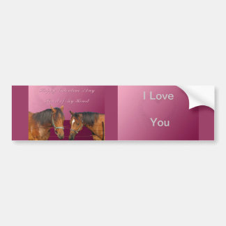 Love & Happy Valentines Horses With Hearts Pink & Bumper Sticker