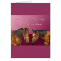 Love & Happy Valentines Horses With Hearts Pink & Card