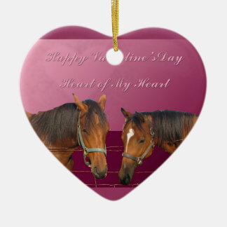 Love & Happy Valentines Horses With Hearts Pink & Ceramic Ornament