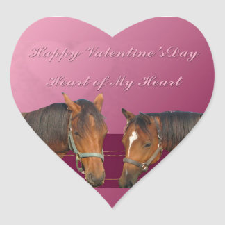 Love & Happy Valentines Horses With Hearts Pink & Heart Sticker