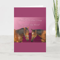 Love & Happy Valentines Horses With Hearts Pink & Holiday Card