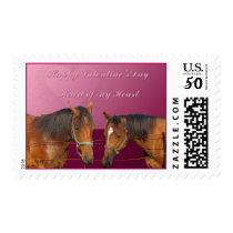 Love & Happy Valentines Horses With Hearts Pink &  Postage