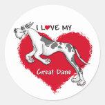 Love Harlequin Great Dane Classic Round Sticker
