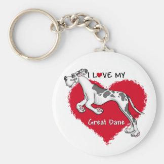Love Harlequin Great Dane UC Keychain