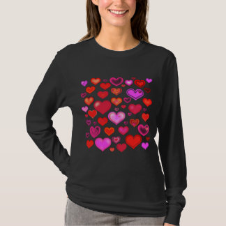 Love Harts cute drawing eclectic vintage red pink T-Shirt