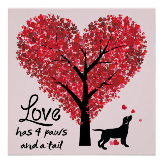 Love has 4 Paws and a Tail Dog Lover Valentine Poster