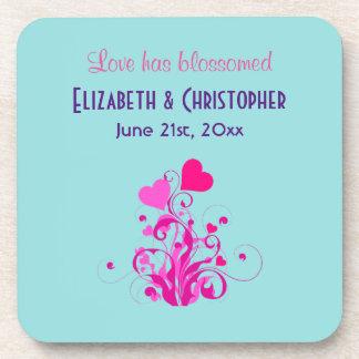 Love Has Blossomed Wedding Hearts Coaster