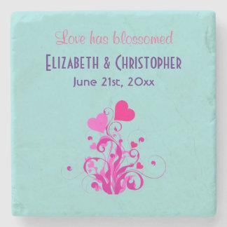 Love Has Blossomed Wedding Hearts Stone Coaster