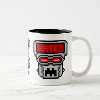 Love-Hate Bot: Love/Hate (Vertical) Two-Tone Coffee Mug