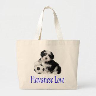 Love Havanese Puppy Dog Canvas Totebag Large Tote Bag