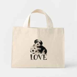 Love Havanese Puppy Dog Canvas Totebag Mini Tote Bag