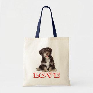Love Havanese Puppy Dog Tote Bag Budget Tote Bag