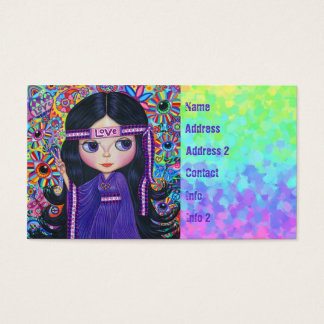 Love Headband Hippie Girl Doll Purple Psychedelic Business Card