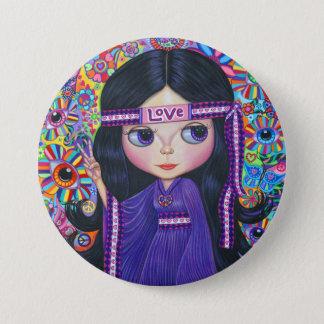 Love Headband Hippie Girl Doll Purple Psychedelic Button