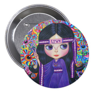 Love Headband Hippie Girl Doll Purple Psychedelic Button