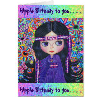 Love Headband Hippie Girl Doll Purple Psychedelic Card
