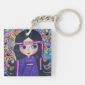 Love Headband Hippie Girl Doll Purple Psychedelic Double-Sided Square Acrylic Keychain