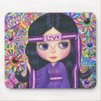 Love Headband Hippie Girl Doll Purple Psychedelic Mouse Pad
