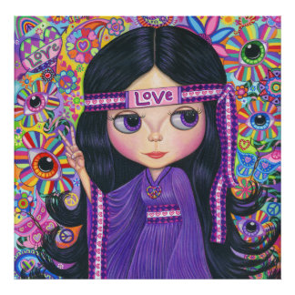 Love Headband Hippie Girl Doll Purple Psychedelic Poster