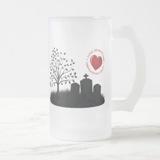 Love Headstones Frosted Glass Beer Mug