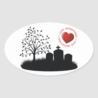 Love Headstones Oval Sticker