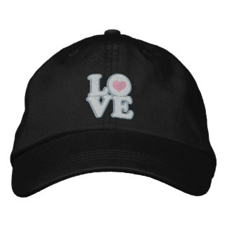 Love Heart And Text Embroidered Hat