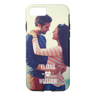 Love Heart Arrow with Your Romantic Couple Photo iPhone 8/7 Case
