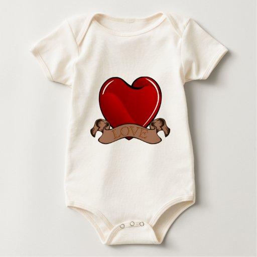 Love Heart Baby Bodysuits