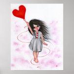 Love Heart Balloon Little Girl in Air Poster