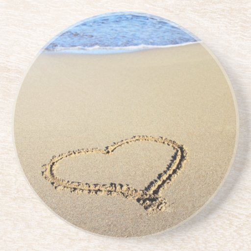 Love Heart Beach Drink Coaster