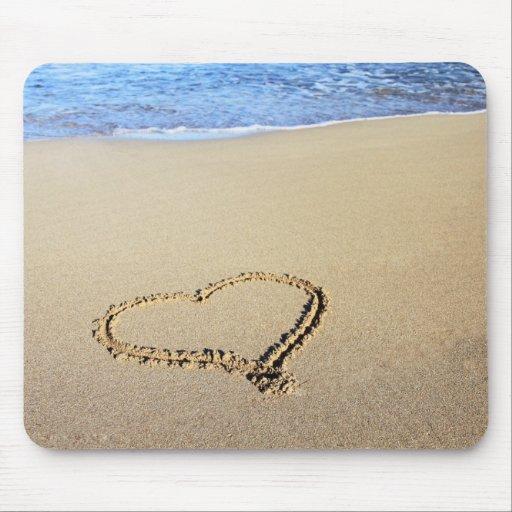 Love Heart Beach Mousepads