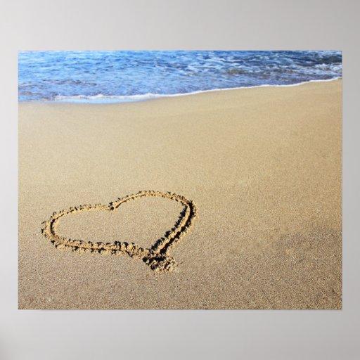 Love Heart Beach Poster