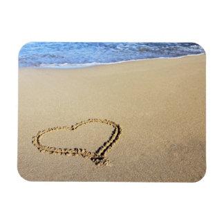 Love Heart Beach Rectangular Photo Magnet