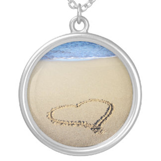 Love Heart Beach Silver Plated Necklace