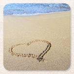 Love Heart Beach Square Paper Coaster