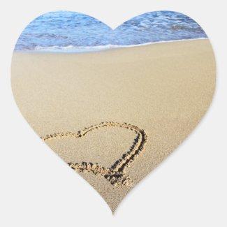 Love Heart Beach Stickers