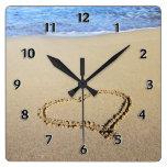 Love Heart Beach Wall Clocks