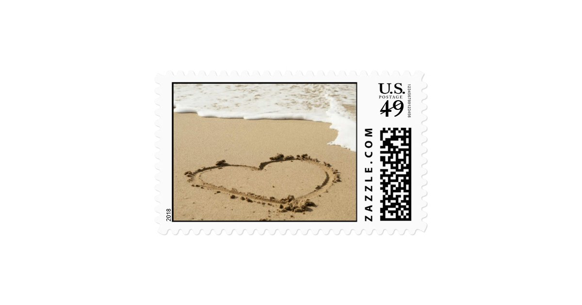 Love Heart Beach Wedding Invitation Stamp   Zazzle