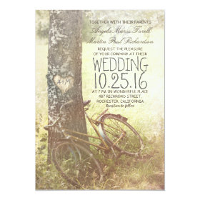 Love heart birch tree and bicycle rustic wedding invitation