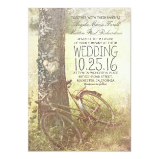 Love heart birch tree and bicycle rustic wedding invitation