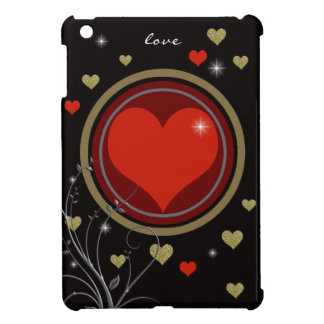 love heart, black and red iPad mini cases