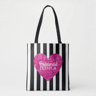 Love Heart Bridesmaid Pink Black White Stripe Tote Bag