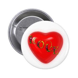 love heart 2 inch round button