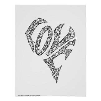 LOVE HEART by NICHOLAS_COPYRIGHT_MINIFACES Poster