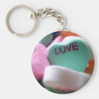 Love Heart Candy Basic Round Button Keychain