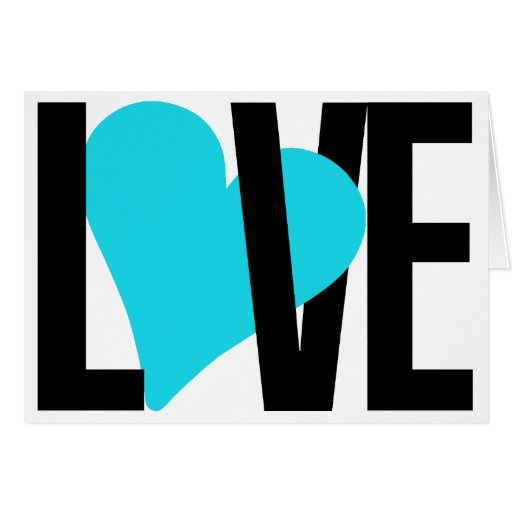 Love & Heart Card (Blue)