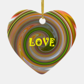 Love Heart Ceramic Holiday Valentines Ornaments