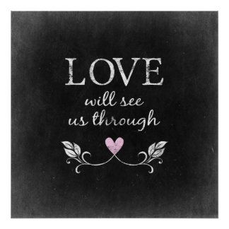 Love Heart Chalkboard Poster