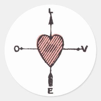 Love Heart Compass Sticker